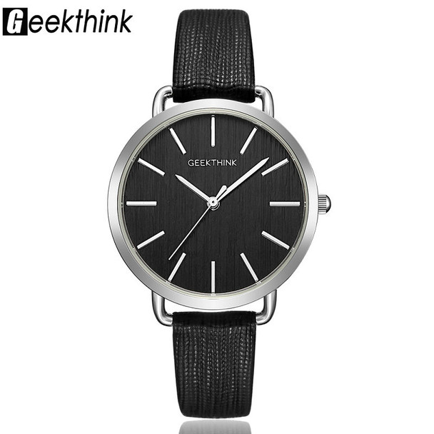 Geekthink Top Luxury brand Fashion Quartz Watches Women Silver Wristwatch Simple Casual Leather Ladies Dress Clock Female New