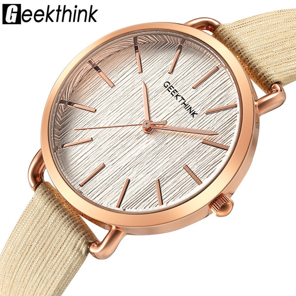 Geekthink Top Luxury brand Fashion Quartz Watches Women Diamonds Wristwatch Casual Leather Ladies Dress Clock Female New relogio