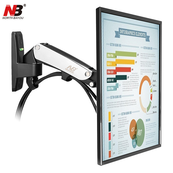 NB F120 TV Wall Mount Bracket 17-27 inch Monitor Arm Holder Gas Spring Lift Full Motion Aluminum Alloy Rotating VESA Stand