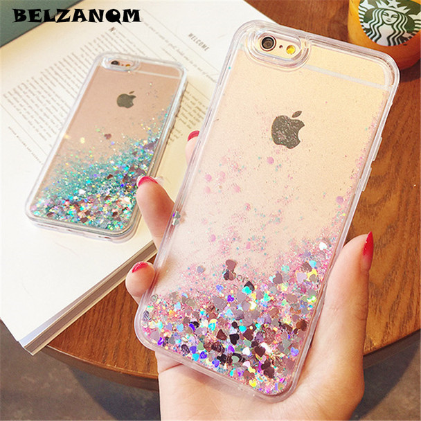 Bling Liquid Quicksand Phone Case For iPhone 7 8 Plus Shiny Love Sequin TPU Glitter Case Cover For iPhone X 5 5S SE 6 6s 7 Plus