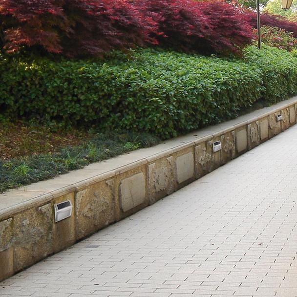 Stainless Steel Outdoor Wall Stair Lamp Pathway Lamp Household Solar Energy LED Garden Yard  Fence Lamp Gutter Light