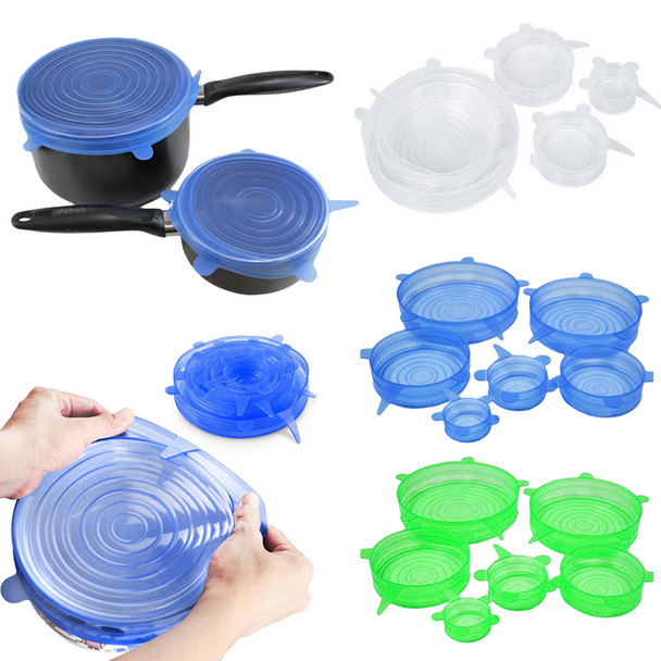 6PCS/Set Universal Silicone Lids Stretch Suction Cover Cooking Pot Pan Silicone Cover Pan Spill Lid Stopper Home Bowl Cover
