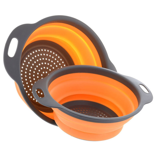 2pcs/set Foldable Silicone Colander Fruit Vegetable Washing Basket Strainer Collapsible Drainer With Handle Kitchen Tool