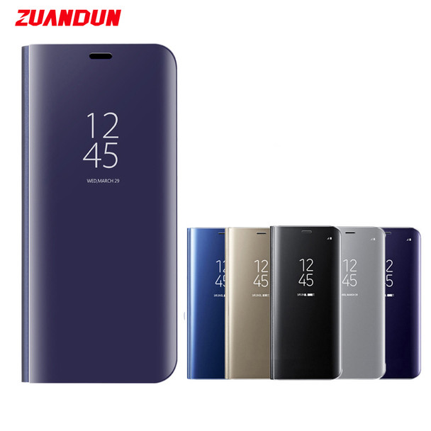 ZUANDUN Luxury Clear View Mirror Flip Case For Samsung Galaxy S9 S9 Plus Note 8 S8 S7 S7 Edge Smart Stand Leather Case Cover