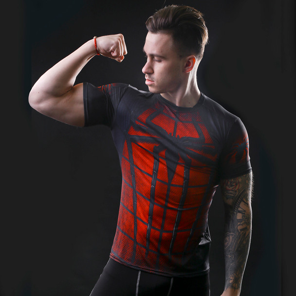 2016 marvel batman compression shirt fitness tights crossfit quick dry short sleeve t shirt Summer Men tee tops clothing