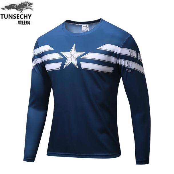 2016 Marvel Avengers Captain America 2 winter soldier deadpool Costume 3d Superhero T shirt Men Long sleeves tshirt homme
