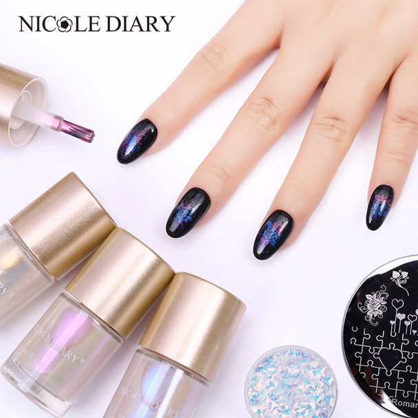 NICOLE DIARY 9ml Mermaid Series Stamping Polish Shell Nail Polish Shiny Glitter Nail Art Lacquer