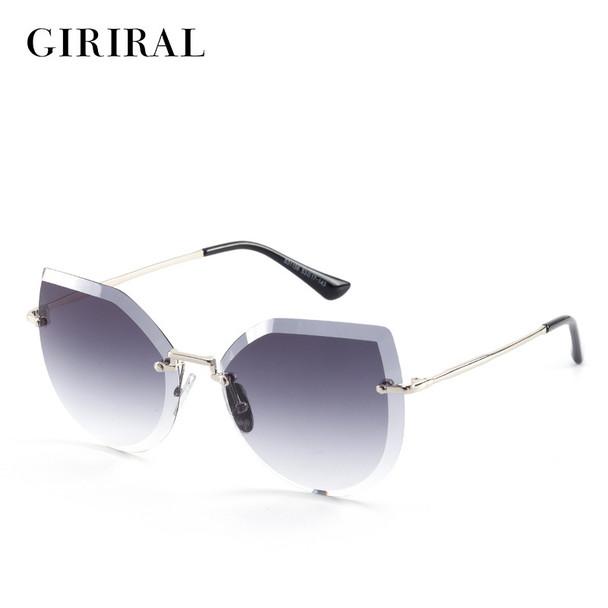 2018 Metal women sun glasses cat eye uv400 colored designer clear candy fashion vintage retro sunglasses #S31158