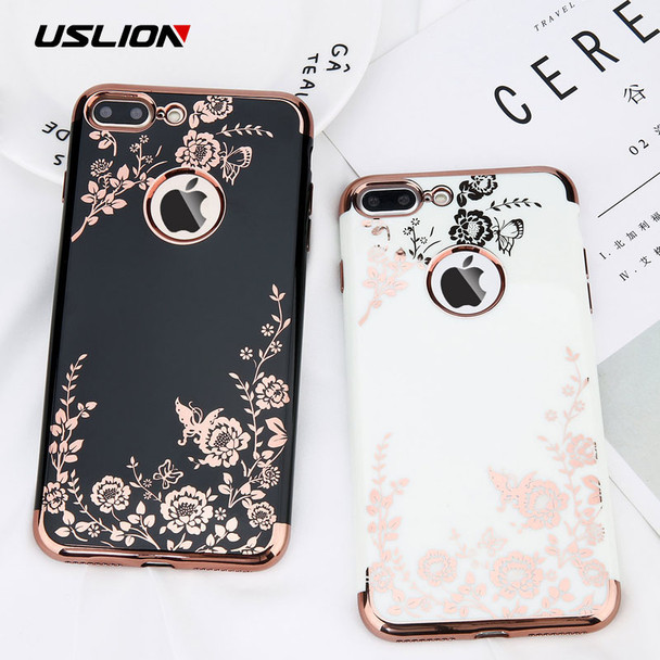 USLION Glossy Flower Phone Case For iPhone 7 Plus Retro Rose Floral Leaves Cases For iPhone X 8 7 6 6s Plus Soft TPU Back Cover