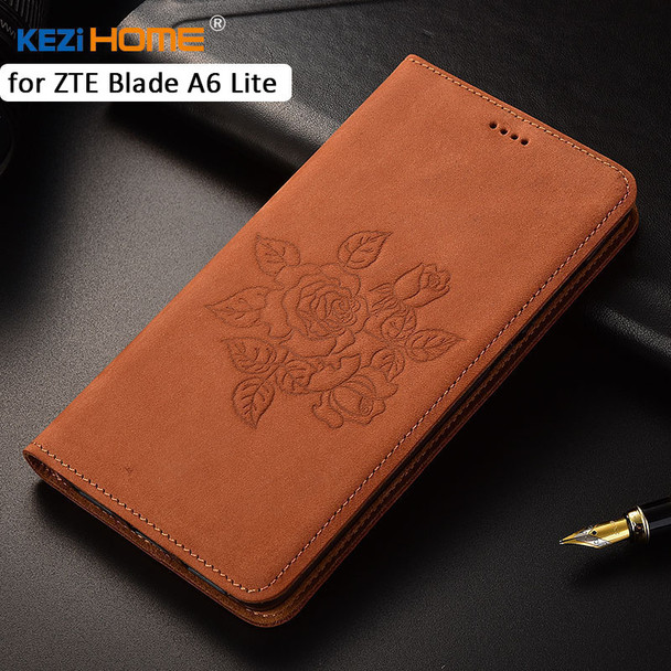 """for ZTE Blade A6 Lite case KEZiHOME Matte Genuine Leather Flower Printing Flip Stand Leather Cover For ZTE A6 Lite 5.2"""" cases"""
