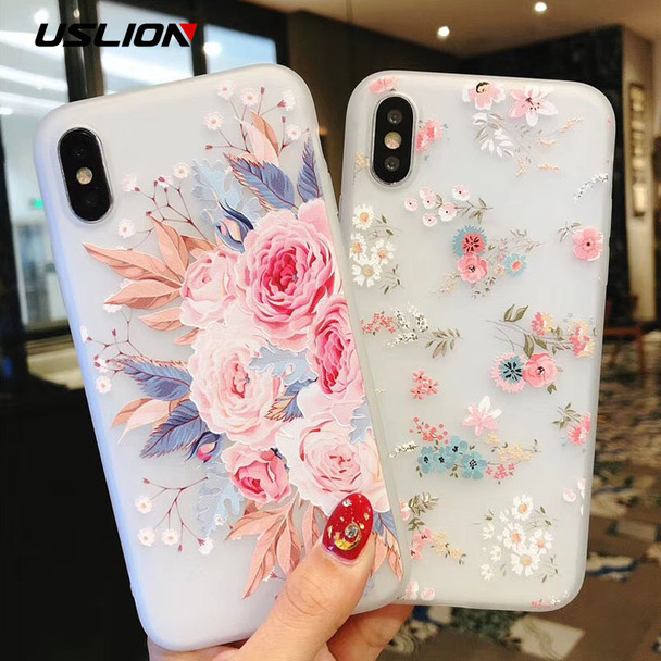 USLION Flower Silicon Phone Case For iPhone 7 8 Plus Rose Floral Leaves Cases For iPhone X 8 7 6 6S Plus 5 5S SE Soft TPU Cover