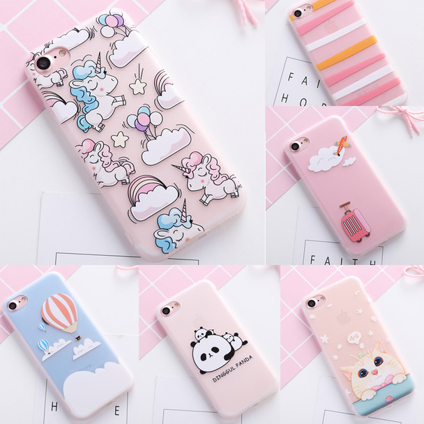 Cute Colorful Flower unicorn cover case for iphone 8 5 5S SE 6 S 6S plus soft silicon cat panda cases for iphone 7 7plus capa