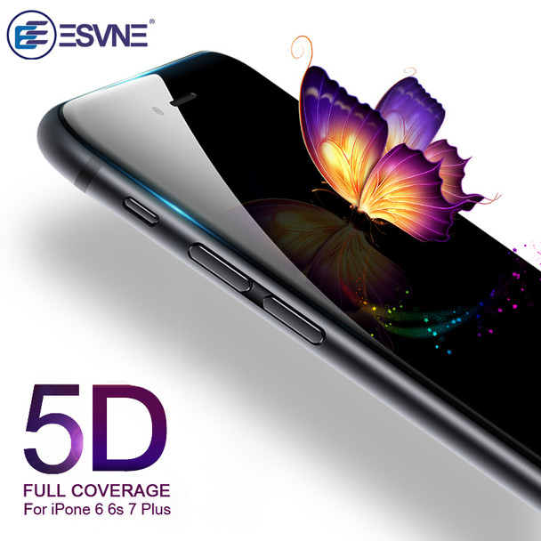 ESVNE 5D Tempered Glass for iphone 7 glass 6s plus Screen Protector For iPhone 6 Glass Full Cover Film Curved Edge