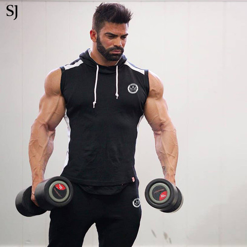714368e0 SJ 2017 Fitness Men Bodybuilding Sleeveless Muscle Hoodies Workout Clothes  Casual Cotton Tops Hooded Tank Tops 2 Color - OnshopDeals.Com