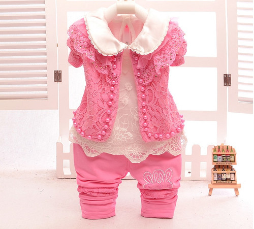 bb99b09b425f 2017 Spring Baby Girl clothing Sets 3 pcs Lace Pearls Coat+T shirt+ ...