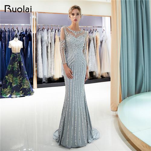 0af5118b6dfbc Luxury Beaded Evening Dresses Long Sleeves Scoop Mermaid Prom Dress 2019  Grey/Champagne Robe de Soiree SQ8