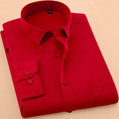 Fieer Mens Stand Collar Pure Color Long-Sleeve Fashion Buttons Dress Shirt