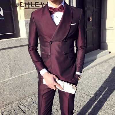 0e1960eb3ce Mens Suits With Pants 3 Pieces Double Breasted Suits Mens Burgundy Tuxedo  Slim Fit Formal Wedding ...