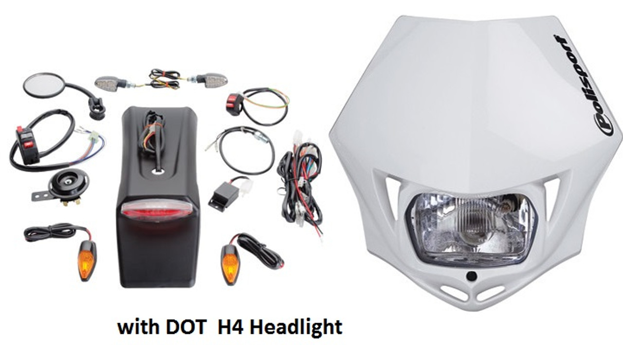 DOT,Dual Sport Universal Polisport MMX Headlight Husqvarna,Yamaha,White