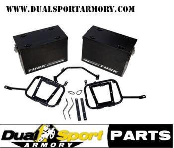 Tusk Aluminum Panniers  w/Pannier Racks Large Black, KLR650 ,08-18