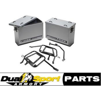 Tusk Aluminum Panniers  w/Pannier Racks Silver Large,Suzuki DR650 96-2020