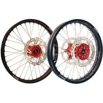 Honda CRF/CRF-X Wheel set combo 21/18 Warp9 Black w/Red
