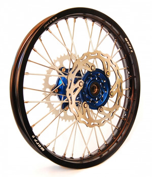 "KTM Wheel Set 18"" 21"" black rim, Blue hub,includes rotors and sprocket"