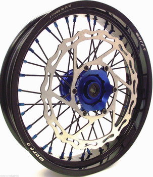 YAMAHA SUPERMOTO WHEEL SET BLACK/BLUE w/Blk SPOKES & BLUE NIPPLES COMPLETE YZ450F/YZ250F 08-2016-Warp9