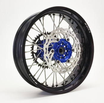 YAMAHA SUPERMOTO WHEEL SET BLACK/BLUE COMPLETE WR250R Dual Sport-Warp9