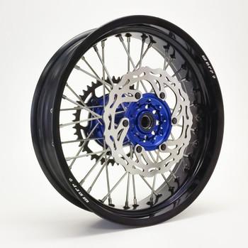 YAMAHA SUPERMOTO WHEEL SET BLACK/BLUE COMPLETE WR250R Dual Sport-Warp9