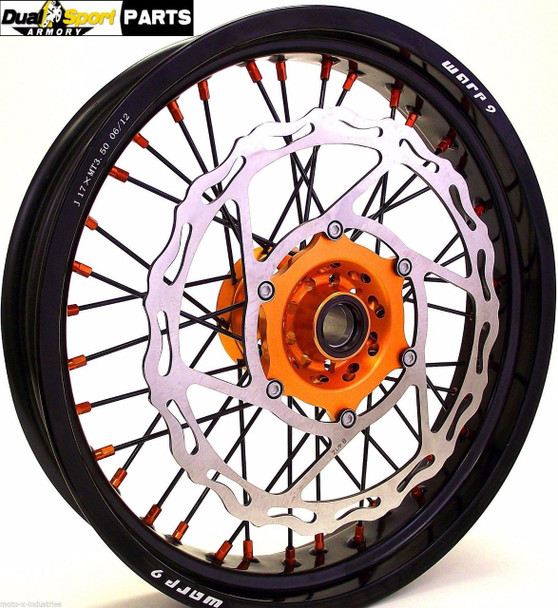 "KTM,17"" SUPERMOTO WHEEL SET,ORANGE/BLACK,w/BLK SPOKES,W/320mm BRAKE ROTOR,WARP9"