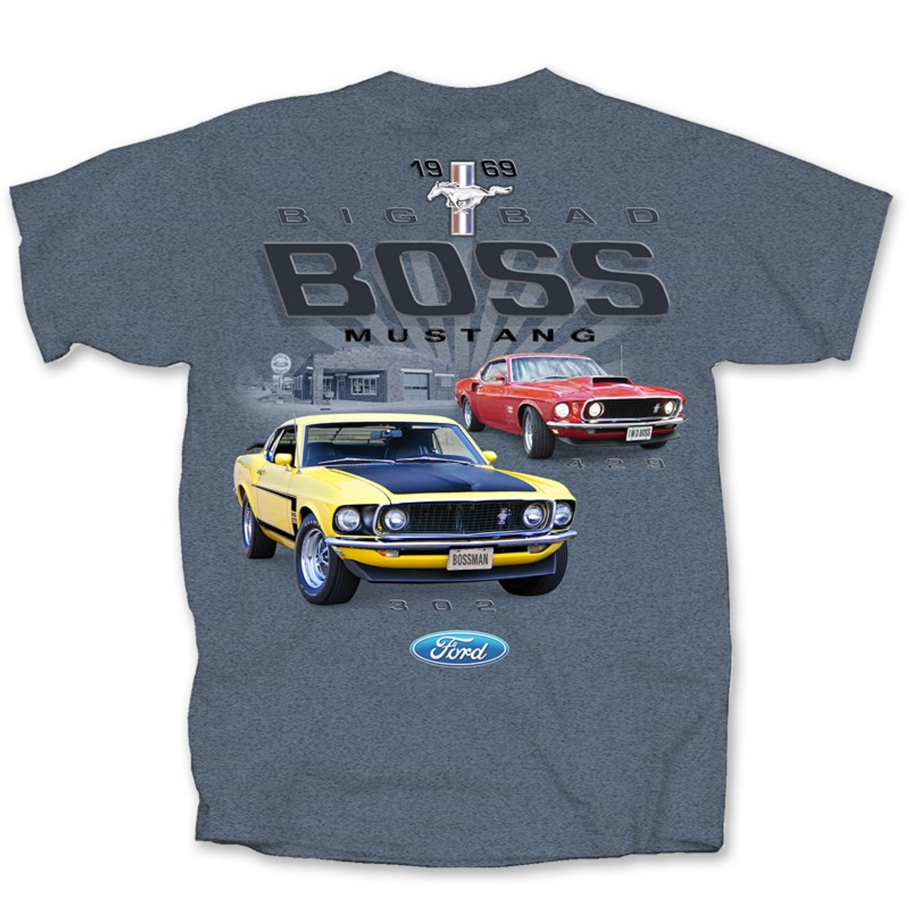 Boss 429 Red Ford Mustang American Muscle car mens 100/% cotton White T=shirt