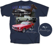 """Get A Horse"" Mustang T-Shirt  in Blue - Small or Med"
