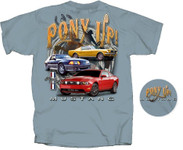 """Pony UP"" Blue Mustang T-Shirt"