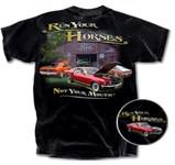 Run Your Horses Barn Scene Mustang T-Shirt