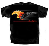 Flaming Mustang Running Horse Logo T- Shirt