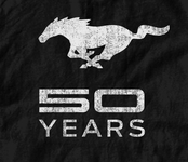 Mustang 50 YEARS - Distressed Logo T-Shirt in 3XL