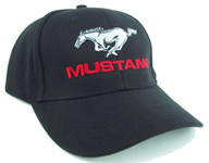 Mustang Running Horse Hat - Black with Red Text