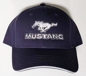 Mustang Running Horse With MUSTANG Text Hat - Blue