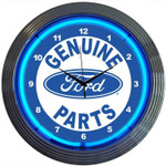 Neon Clock - Ford Genuine Parts in Blue