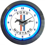 Neon Clock - Ford Mustang Blue Tri-Bar Clock