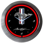 Neon Clock - Ford Mustang Tri-Bar Red Neon