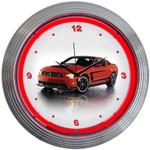Neon Clock - Mustang Neon BOSS 302 in Red