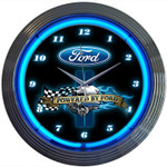 Neon Clock - Powered By Ford Blue Neon