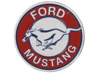 Ford Mustang Round Embossed Magnet - White Background