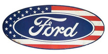 American Flag Ford Embossed Tin Sign - Large