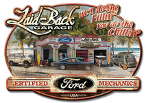 Dream Garage Ford Embossed Metal Sign By Laid Back
