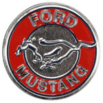 Ford Mustang Round Embossed Tin Magnet - Silver Background