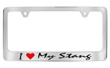 I (Red Heart) My Stang Chrome License Plate Frame