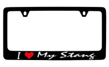 I (Red Heart) My Stang Black License Plate Frame